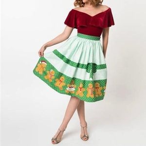 NWT Unique Vintage gingerbread a line skirt small